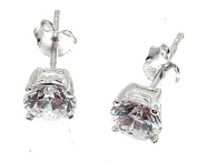 Cubic Zirconia Earrings CZ Jewellery Cubic Zirconia Stud Earrings Silver Stud Earrings 4 mms