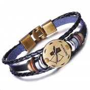 Infinite U Retro Punk Mens Womens 12 Constellation Zodiac Sign Bracelet Braided Leather Alloy Charm Bracelet Multilayer Wristband Bangle
