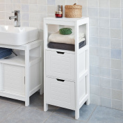 SoBuy® FRG127-W, White Floor Standing Bathroom Storage Cabinet Unit with 1 Shelf and 2 Drawers