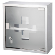 Bond Hardware Stainless Steel Wall Mounted Lockable Medicine Cabinet First Aid Box With 2 Shelves & Frosted Glass Door