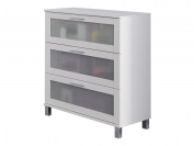 Trendteam 1681 805 Furniture Wooden White Melamine/Glass Satniert, 70 x 41 x 89 cm