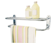 Wall Mounted Chrome Plated Bathroom Bath Towel Rail Storage Holder Rack