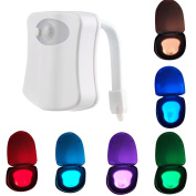 Toilet Night Light,SUAVER LED Motion Activated Toilet Nightlight Battery-Operatred Toilet Bowl Light 8 Colours Changing