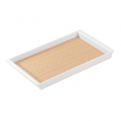 """InterDesign """"RealWood"""" Cosmetic Organiser Tray for Vanity Cabinet to Hold Makeup, Beauty Products, Plastic, White/Light Wood Finish, 4-Piece"""