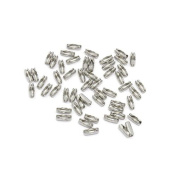 Packet of 20 x Silver Stainless Steel 3.5 x 9mm Ball Chain Connectors - (Y06030) - Charming Beads