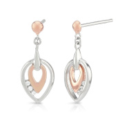Silver and Rose Gold Earrings with CZ Diamonds