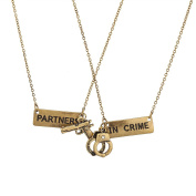 Lux Accessories Partners In Crime Handcuff Hand Cuff Gun BFF Best Friends Forever Matching Necklace Set