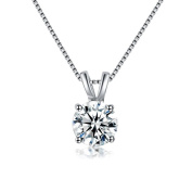 RedFly 2 Carat Round CZ Diamond 18ct White Gold Plated Pendant Necklace for Women Party