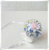Hand-make Lucky flower Silver Necklace Gift ornaments time gem sweater Pendant