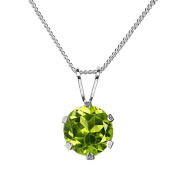 6mm Round Genuine Parrot Green Peridot Rhodium Plated 925 Sterling Silver Pendant + Snake Chain