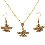 Small Gold Plated Farvahar Faravahar Necklace Earrings Set Iranian Persian Gift