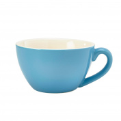 Royal Genware Bowl Shaped Cup Blue 12oz / 340ml - Blue Porcelain Cappuccino Coffee Cups