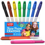 Face Painting Sticks- Safe, Non Toxic 12 Vibrant Colours. Professional Face Paint Kit with Easy to Apply and Clean Long Lasting Twist Up sticks. 18 FREE stencils and Bonus E-book. Ideal for Kids, Parties, Body Paint.
