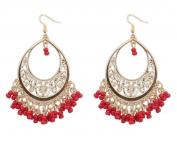 TININNA Bohemia Hollow Out Tassel Beads Chandelier Drop Earrings Dangle Hoop Earrings for Women Girls Red