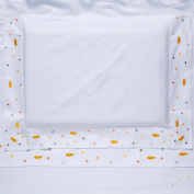 Cot Bed Baby Bedding Set with Embroidered White Clouds Yellow