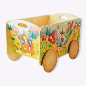 Dida - wooden cart for items and children's toys. Decoration animals of the forest.