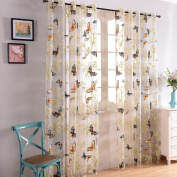 Top Finel Butterfly Voile Window Curtain Sheer Curtain Panels For Living Room 190cm Width X 240cm Length,Grommets,Single panel