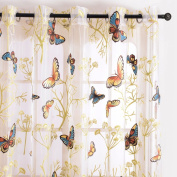 Top Finel Butterfly Voile Window Curtain Sheer Curtain Panels For Living Room 140cm Width X 240cm Length,Grommets,Single panel