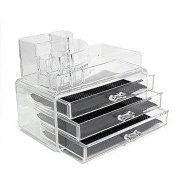 Imurz Clear Acrylic Transparent Make up Box Organiser Cosmetic Display 3 Storage Case