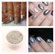 Mermaid Sheer Rub Pigment Metallic Silver Effect Dust Powder Nail Art Manicure Pedicure 5ml pot