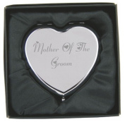 Engraved Mother of the Groom Heart Compact Hand Mirror with Gift Box!