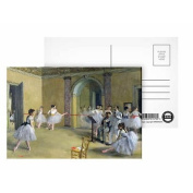 The Dance Foyer at the Opera on the rue Le Peletier, 1872 (oil on canvas) by Edgar Degas - Postcard (Pack of 8) - Highest Quality