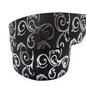 2m x 22mm LUXURY BLACK AND SILVER SWIRL GROSGRAIN RIBBON FOR BIRTHDAY CAKE'S, CHRISTMAS CAKES, WEDDING CAKES GIFT WRAP WRAPPING MOTHERS DAY VALENTINES DAY