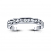Vorra Fashion .925 Sterling Silver Cubic Zirconia Platinum Plated Channel-Set White CZ Adjustable Toe Ring