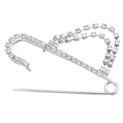 Souarts Silver Tone Colour Tassel Shaped Rhinestone Brooch Fasteners Clips Safety Pin Jewellery