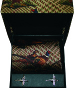 Soprano Brown Tweed Pheasant Country Tie with flying pheasant silver cufflinks in a lovely gift box