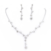 Clearbridal Women's Sliver Rhinestones Necklace Earrings Jewellery Sets for Wedding Bridal Party
