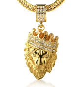 "Halukakah Men's 18k Real Gold Plated ""KINGS LANDING"" Crown Lion Pendant Necklace,Cz Inlay,with FREE Fishtail Chain 80cm"