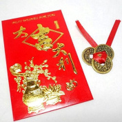 Find Something Different 3 Chinese Lucky and Wealth Antiqued Coins and Envelope