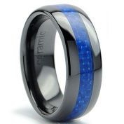 Ultimate Metals Co. 8MM Dome Men's Black Ceramic Ring Wedding Band With Blue Carbon Fibre Inaly
