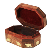 Wooden Decorative Jewellery Box Organiser Hand Carved With Mughal Inspired Elephant Brass Inlay