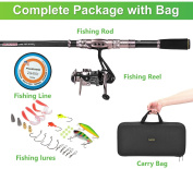 PLUSINNO® Spinning Rod and Reel Combos FULL KIT Telescopic Fishing Rod Pole with Reel Line Lures Hooks Fishing Carrier Bag Case and Accessories Fishing Gear Organiser