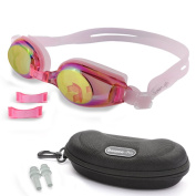 Kids Swimming Goggles with 3 Adjustable Nose Bridge & 100% UV Protected Anti-Fog Mirror Coated Colour Lens, Anti-Leak, Best Swim Goggle for age 4 to 12 yrs, With Quality Case & Ear Plugs
