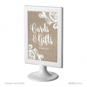 Andaz Press Burlap Lace Print Wedding Collection, Framed Party Signs, Cards and Gifts Thank You, 10cm x 15cm , 1-Pack, Includes Frame