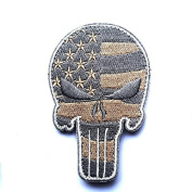 USA Tactical Morale American Flag Punisher Skull Patch with Velcro by Backwoods Barnaby