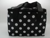 Black Polka Dot Lunch Cool Bags Insulated Black Picnic Bag Black Spot Spotty C8