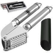 Alpha Grillers Garlic Press and Peeler Set Stainless Steel Mincer and Silicone Tube Roller Black