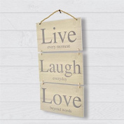 Live Laugh Love 3 Part Wooden Hanging Wall Sign Plaque