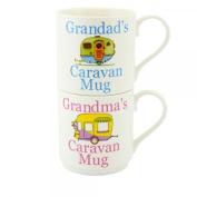 GRANDAD'S & GRANDMA'S CARAVAN FINE CHINA MUGS