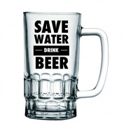 """BRAND NEW """"Save Water, Drink Beer"""" - Funny and Cheeky 1 Pint Solid Printed Glass Beer Stein/Mug - Exclusive to Mugs n Kisses Collection"""