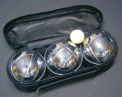 Boules game (Pétanque) 3 metal balls in zipper bag