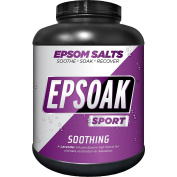 Epsoak SPORT Epsom Salt for Athletes - 3.9kg Canister - SOOTHING. All-natural, therapeutic soak with Lavender Essential Oil
