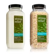 2pc SET - Bath & Body Works Aromatherapy Eucalyptus Spearmint Stress Relief Bath Soak & Luxury Bath Set