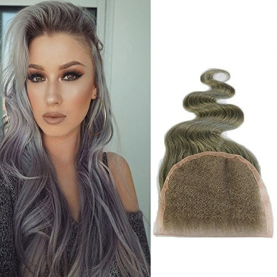 Art of Love Hair 10cm x 10cm Bleached Knots Closure, Granny Grey ,Body Weave 8-50cm Human Hair Lace Closure (46cm )