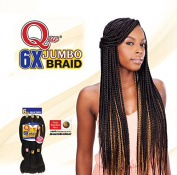 QUE KING JUMBO BRAID 6X (1B Off Black) - Freetress Synthetic Bulk Mega Box Braiding Hair
