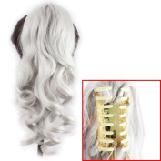 Riyang Hair Ponytail Claw in Hair Extension Long Curly Synthetic Siver Grey